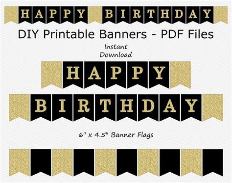 happy birthday banner black gold glitter printable