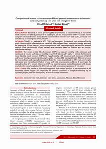 Pdf  Comparison Of Manual Versus Automated Blood Pressure