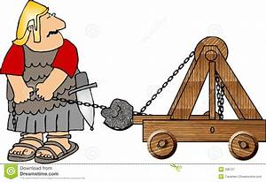 Soldier with a catapult stock illustration. Image of comic ...