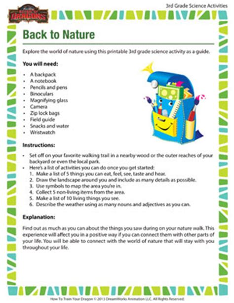 back to nature 3rd grade science activities for