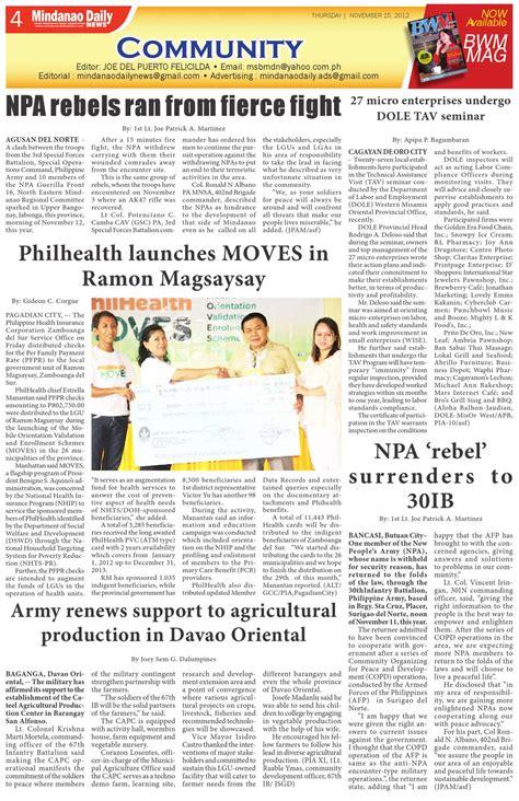 Mindanao Daily News (Nov 15 2012) by Mindanao Daliy Issuu