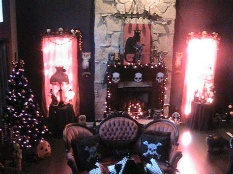 halloween decorated victorian goth living roomlove