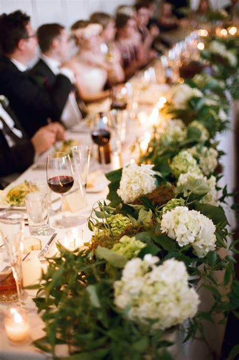 rustic hydrangea  moss wedding table garland