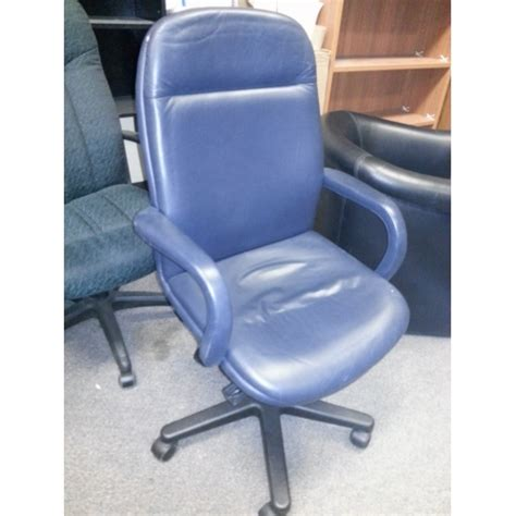 modern executive navy blue soft leather task seating