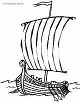 Coloring Boat Printable Ship Viking sketch template