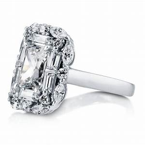 berricle sterling silver emerald cut cz halo art deco With emerald cut cz wedding rings