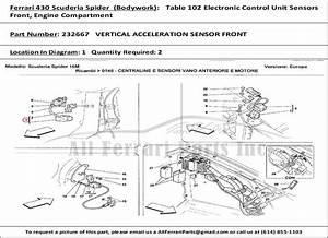 Ferrari Part Number 232667 Vertical Acceleration Sensor Front