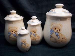 Tienshan Theodore Country Teddy Bear Stoneware Set Of 4