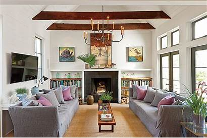 Living Fireplace Rooms Decorating Southern Narrow End