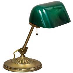 banker 39 s l with green cased glass shade at 1stdibs