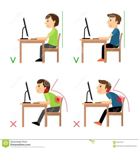 posture bureau incorrect and correct back sitting position stock vector