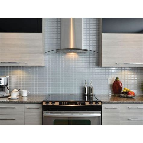 wall tile kitchen backsplash smart tiles stainless 10 625 in w x 10 00 in h peel and