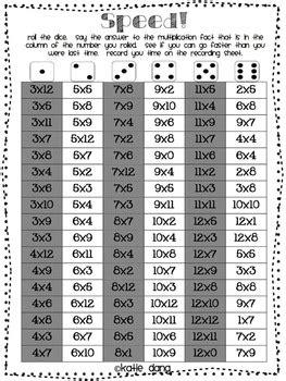 multiplication fluency fun pack  dangs digs tpt