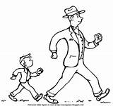 Walk Coloring Fast Trot Dressed Exercise Dad Father Adventure Son sketch template