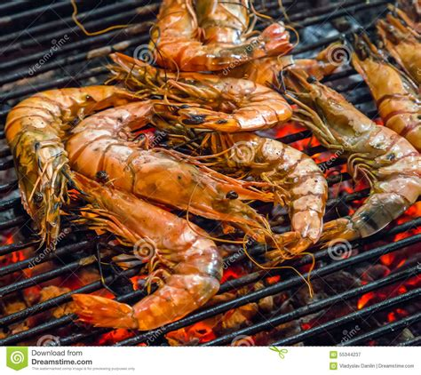 grills seafood deck menu fried king shrimps seafood barbecue grill stock image