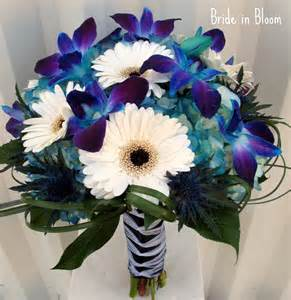 blue wedding flowers in bloom blue orchid bridal bouquets
