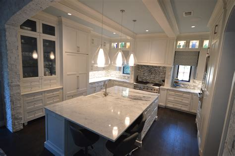 Kitchen Tile Backsplash Design Ideas - interior interesting colonial white granite with kitchen island and pendant lighting plus