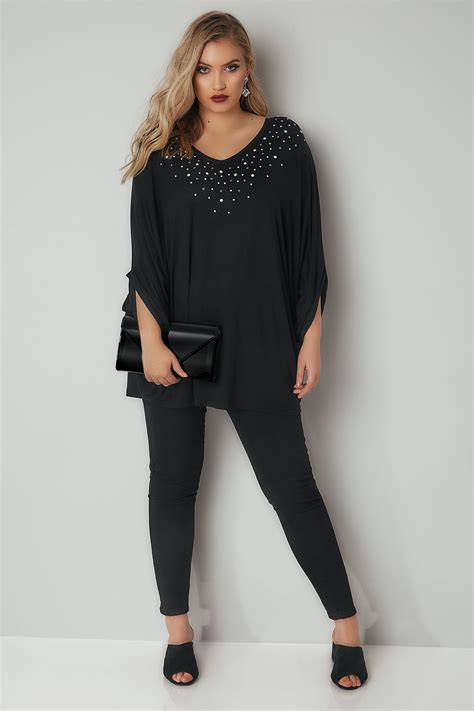 Black Oversized Top With Faux Pearl Studs, Plus Size 16 To 36