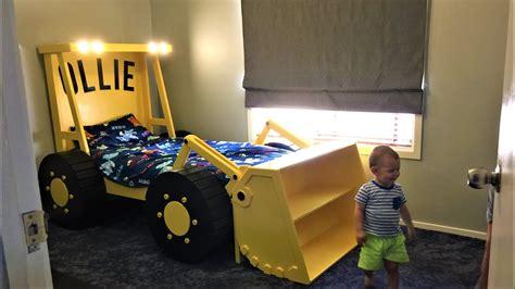 kids beds building  loader tractor bed  headlights