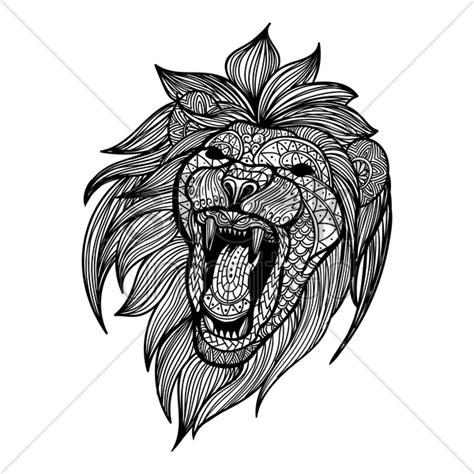 intricate lion design vector image  stockunlimited