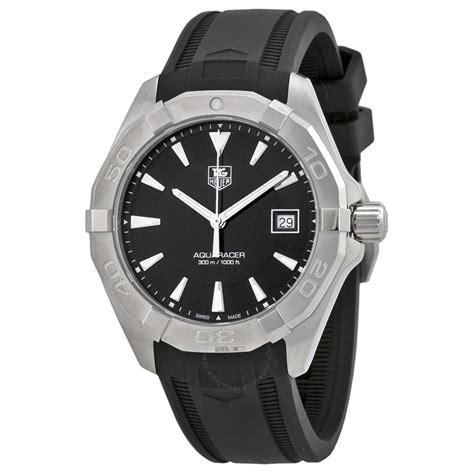 tag heuer watches tag heuer aquaracer black dial black rubber men 39 s watch
