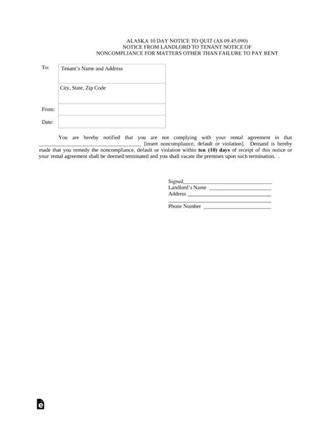 alaska eviction forms free alaska 10 day notice to quit non compliance pdf