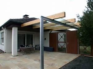Vordach aus leimbindern stahl feuerverzinkt und vsg 16 mm for Terrassenüberdachung leimbinder