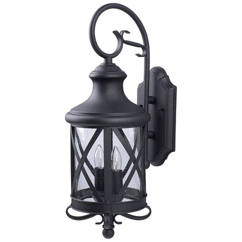 canarm 2 light black outdoor wall lantern with