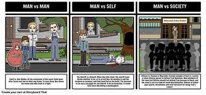 Conflict Kill Mockingbird Literary Types Chart Storyboard