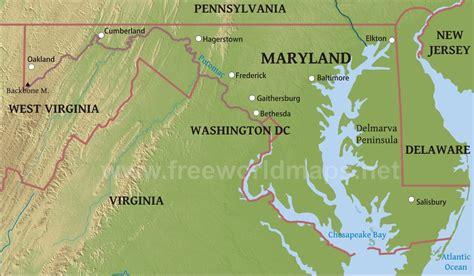 physical map  maryland