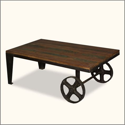 wooden table with wheels industrial wrought iron reclaimed wood coffee table cart