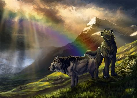 picture wolves  fantasy rainbow mountains
