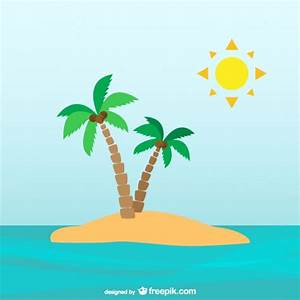 Palm trees on desert island Vector | Free Download