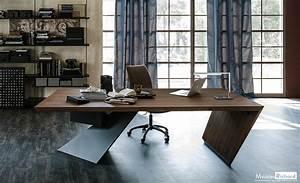 Meuble Bureau Design : bureau bois et acier moderne meuble de bureau meubles ~ Melissatoandfro.com Idées de Décoration