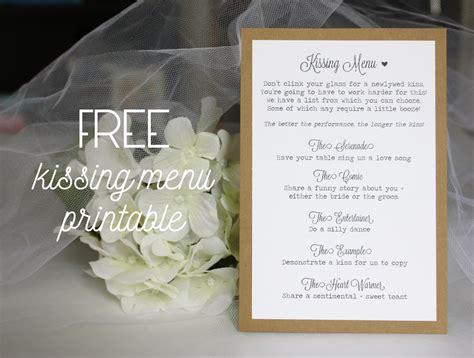 kissing menu printable   amber