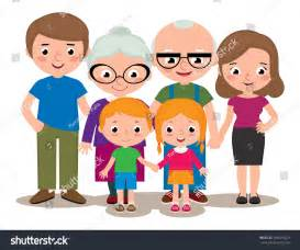 Cartoon Family with Grandparents