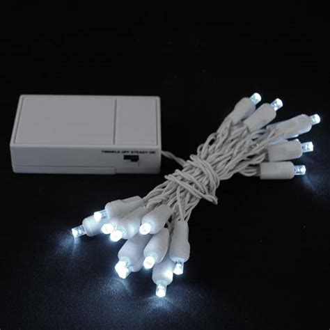 20 light battery operated lights pure white white wire