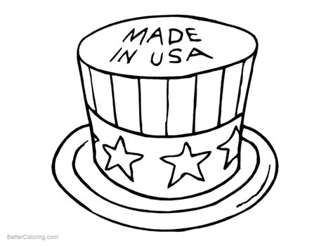 patriotic coloring pages hat   usa  printable