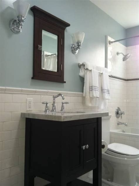 subway tile trendy bathroom bathroom design light blue
