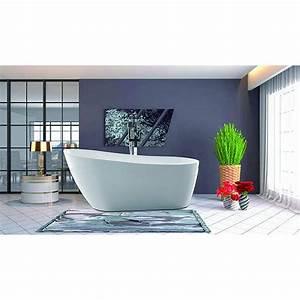 Vanity, Art, 55, Inch, Freestanding, Acrylic, Bathtub, With, Polished, Chrome, Overflow, U0026, Pop