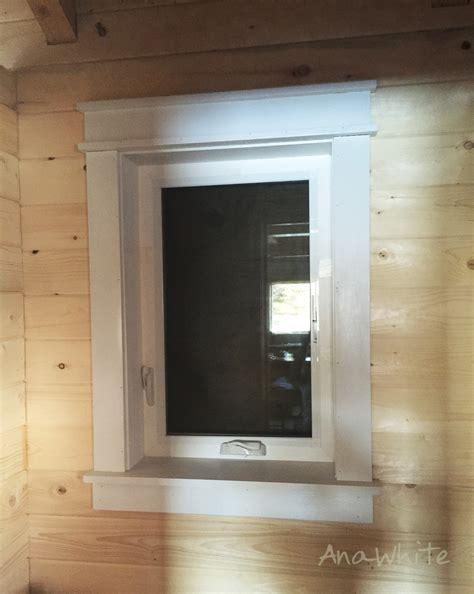 farmhouse style window trim  pine boards ana white