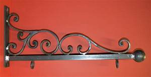 Wrought Iron 26 in. Scroll Sign Bracket Holder by
