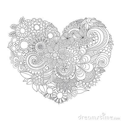 flowers   heart shape pattern  coloring book stock vector image