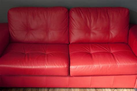 image  elegant red leather sofa   living room