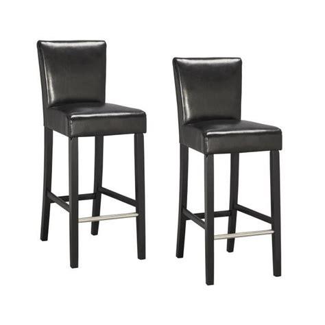 elvis lot de 2 tabourets de bar en simili noir achat vente tabouret de bar noir structure en