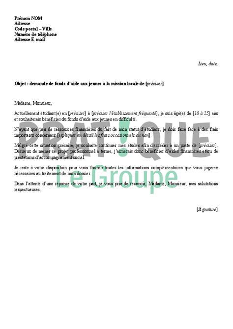 reconversion professionnelle cuisine lettre de demande de fonds d 39 aide aux jeunes pratique fr