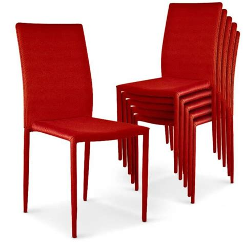 Lot De 6 Chaises Empilables Modan Rouge Achatvente