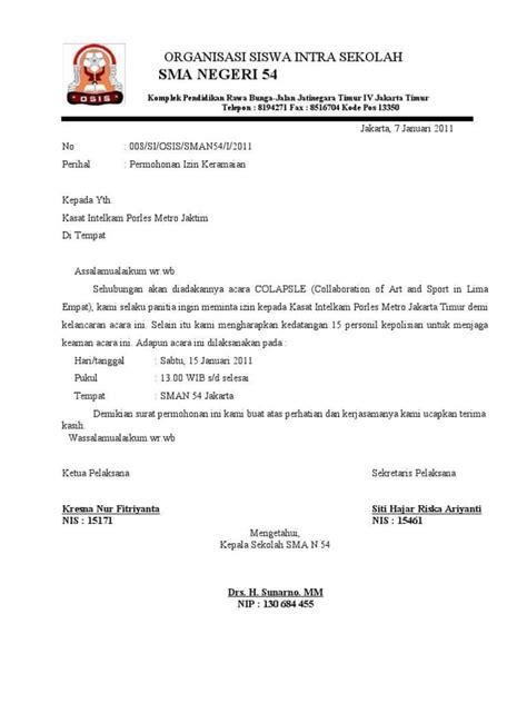 contoh surat pernyataan izin keramaian  acara