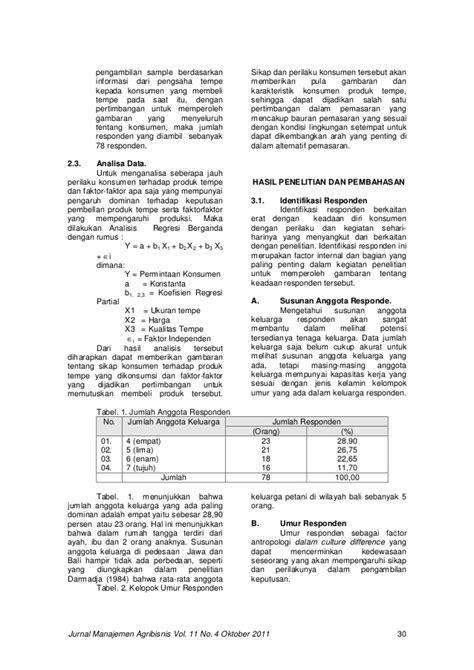 Jurnal manajemen agribisnis vol. 11 no. 4 oktober 2011