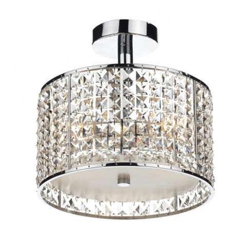 Modern Bathroom Ceiling Light, Chrome & Crystal Design